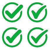 Checkmark icon set. Green check mark vector set.Creative vector illustration of green tick. Vector green confirm icons set. Vector illustration.