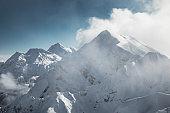 Winter view of Caucasus Mountains near Krasnaya Polyana, Sochi, Russia