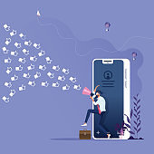 Social media marketing concept-Businessman with megaphone drags customer like icon into the business