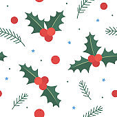 Seamless pattern with Christmas holly berries and sprigs of fir.