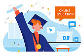 Online education graduate people vector illustration, cartoon flat happy woman student character holding diploma, successful graduated online educational course