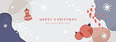 Christmas horizontal banner. Winter abstract pattern and Christmas decorations.