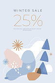 Vertical banner with holiday discounts. Winter abstract pattern.