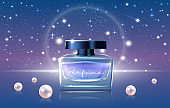 Blue perfume cosmetics vector illustration, 3d luxury realistic perfume ads design promo background with glass jar bottle mockup, night sky and pearls