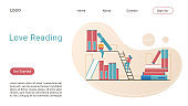 Love reading landing page isometric vector template