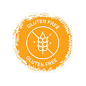Gluten free circle logo for food.
