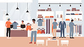 Fashion discount sales in clothing shop flat vector illustration, cartoon man shopaholic buyer characters shopping, buying fashioned casual clothes in retail store