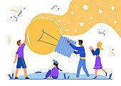 Creative idea light bulb concept vector illustration, cartoon flat happy people team holding big lamp lightbulb, creating new success business solutions