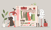 Home cabinet, wardrobe room for clothes with cartoon woman