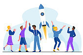 Successful startup, launching project vector illustration, cartoon flat happy people launch rocket spaceship into sky, celebrating success start