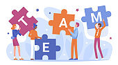 Teamwork of business people connect puzzles vector illustration, cartoon flat businessman characters holding and connecting puzzle pieces