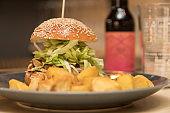 Close up on a delicious hamburger