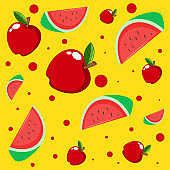 Seamless background pattern with apples and watermelons