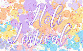 Happy Holi festival poster design with colorful background