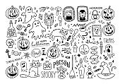 Halloween doodle set. Cute Halloween vector collection. Hand drawn illustration for All Saints' Day: pumpkin, ghost, magic objects, cat, witch hat