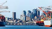 Seattle skyline seen from harbor