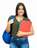 Happy spanish female student with backpack