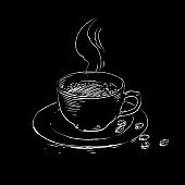 Coffee cup sketch drawing. Vector coffee drink clipart hand drawn vintage style illustration on black background