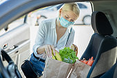 Woman just bought all groceries from supermarket with her face mask
