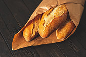 Wrapping crunchy french baguettes