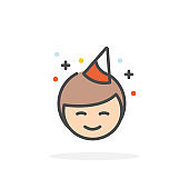 Birthday boy icon in filled outline style.
