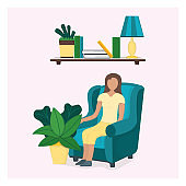 Character female sitting chair with green leaf pot, woman rest and sleep isolated on pink, flat vector illustration.