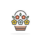 Basket with flowers icon in filled outline style.