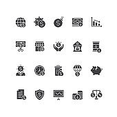Set of financial crisis icons.