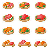 Set of piece fish tuna salmon, fresh steak tenderloin on wooden board isolated on white, cartoon vector illustration. Healthy fat seafood stuff icon food.