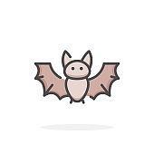Bat icon in filled outline style.
