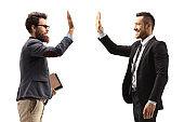 Men gesturing high-five