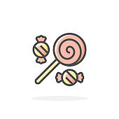 Candy icon in filled outline style.