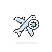 Stop flight, virus icon in filled outline style.