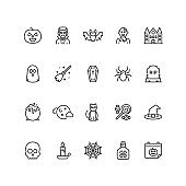 Set of Halloween icons in line style.