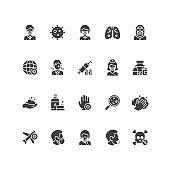 Set of coronavirus, pandemic icons.