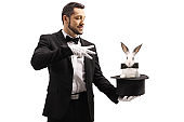Magician performing a trick with a top hat and a rabbit