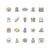 Set of Halloween icons in filled outline style.
