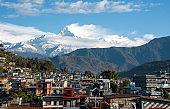 The cityscape of Pokhara with the Annapurna mountain range Nepal, Asia