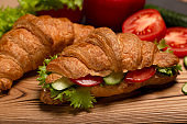 Close up vegan croissant, healthy vegetarian breakfast