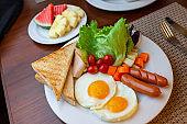 American Breakfast Set on table