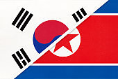 South Korea and North Korea or DPRK, symbol of national flags from textile. Championship between two countries.