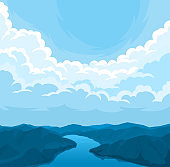 Vector landscape with cloudy sky