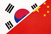 South Korea and China or PRC, symbol of national flags from textile. Championship between two countries.