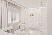3d render of the kid bedroom interior in white color