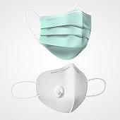 Set of isolated 3d respiratory mask. Respirator