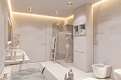 3d illustration of a bathroom in a private house. Interior design in white without textures