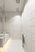 3d render interior design of the bathroom with a corner shower