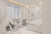 The interior design girl playroom and bedroom in the Scandinavian style