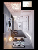 3d render of the interior design of the living room. Interior in white color