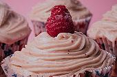 Close-up on a Raspberry Cupcake